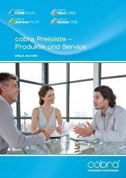 cobra Preisliste - Dieter Schirmer, EDV-Beratung