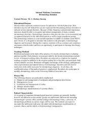 Internal Medicine Curriculum Dermatology Rotation Contact Person ...