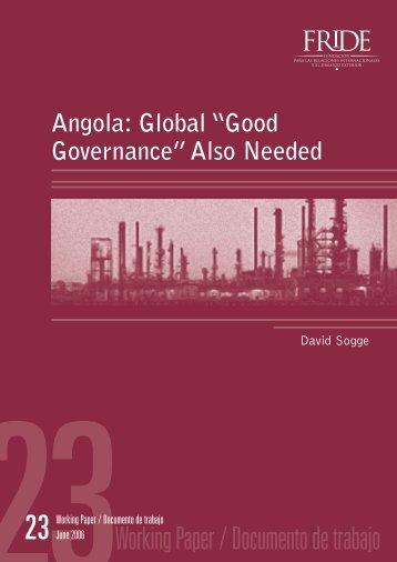 """Angola: Global """"Good Governance"""" - FRIDE"""
