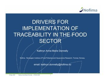drivers for implementation of traceability in the food sector - jifsan