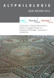 A L T P H I L O L O G I E - Gunter Narr Verlag/A. Francke Verlag ...