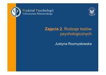 Zajęcia 2 - Wydział Psychologii Uniwersytetu Warszawskiego