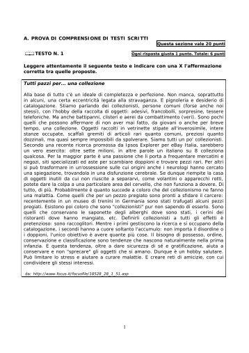 A. PROVA DI COMPRENSIONE DI TESTI SCRITTI 白TESTO N. 1 ...