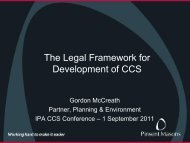 The Legal Framework for Development of CCS