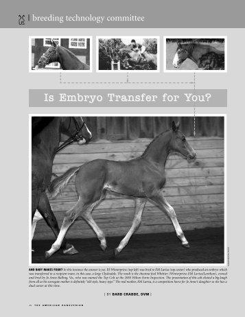 DR. Barabara Crabbe: Embryo Transfer - Greengate Sporthorses