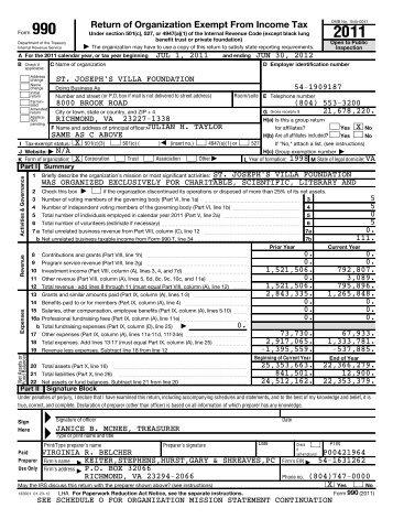 Return of Organization Exempt From Income Tax - St. Josephs Villa
