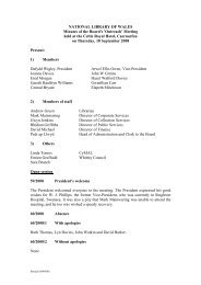 NATIONAL LIBRARY OF WALES Minutes of the Board's 'Outreach ...