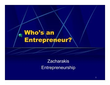 Who's an Entrepreneur?