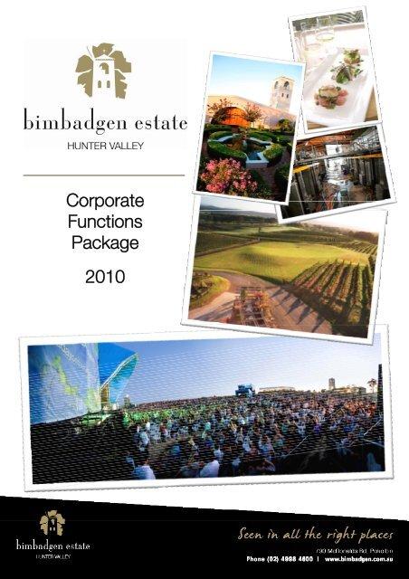 Corporate Functions Package 2010 - Bimbadgen Estate