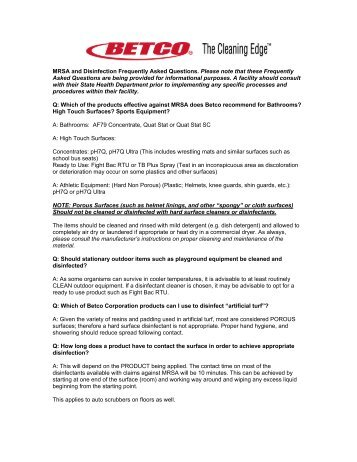 MRSA FAQ - Betco Corporation