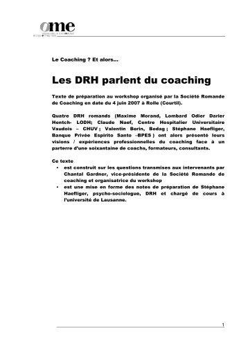 Les DRH parlent du coaching - Stéphane Haefliger Sociologue