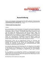 Ausschreibung eines DFG-Stipendiums - Transnationale Soziale ...