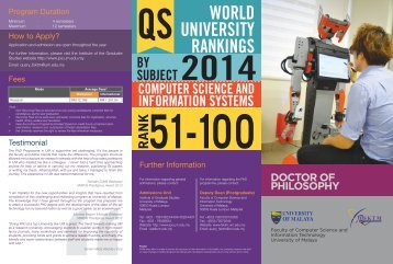 Download brochure - Faculty of Computer Science and Information ...