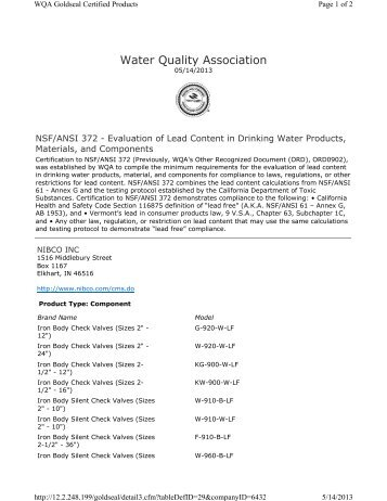 Certification Letter Nsf Ansi 61 Stop And Waste Pdf Nibco