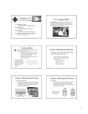 compressibility chemistry. chemistry 14.1 compressibility factors .