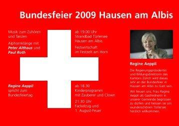 Bundesfeier 2009 Hausen am Albis Regine Aeppli - Kultur im Dorf