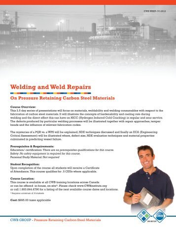 B313 For Welding Supervisors And Inspectors Cwb Group