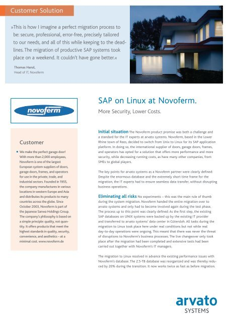 SAP on Linux at Novoferm  - arvato Systems