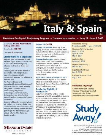 Italy & Spain - International Programs - Missouri State University