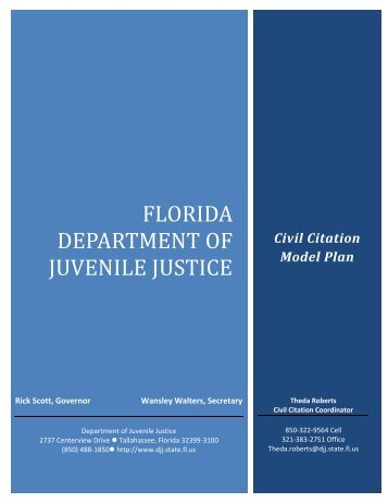 Civil Citation Model Plan - Florida Department of Juvenile Justice