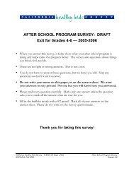 AFTER SCHOOL PROGRAM SURVEY - California Healthy Kids ...