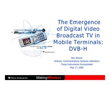 The Emergence of Digital Video Broadcast TV in ... - Cvt-dallas.org