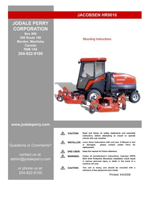 jacobsen hr9016 operators manual