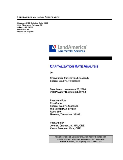 Capitalization Rate Analysis The Shelby County Assessor Of Property