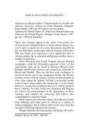 Ernst Damman and Ewald Wagner, Afrikanische Handschriften, I-II