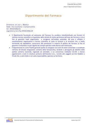 Dipartimento del Farmaco - Azienda Sanitaria Provinciale di ...