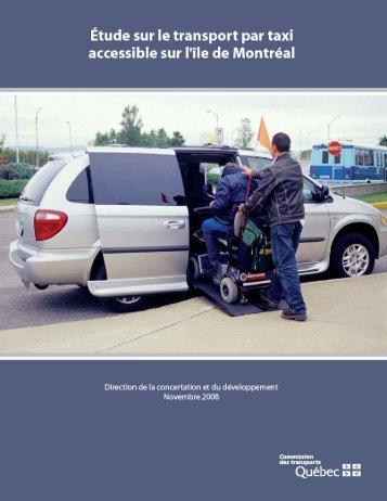 Étude sur le transport par taxi accessible sur l'île de Montréal