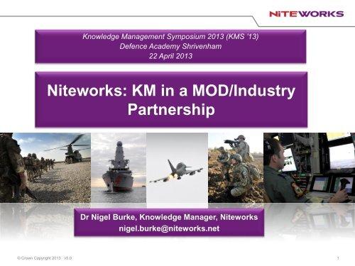 KM in a MOD industry partnership - Dstl