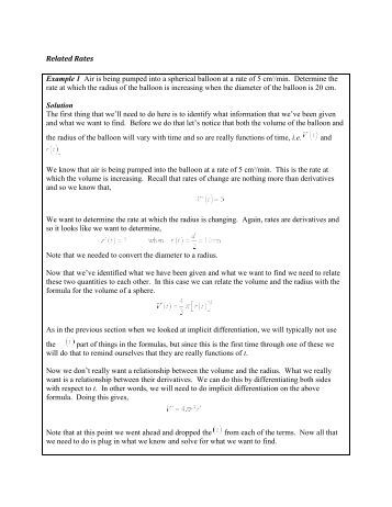 Related Rates Worksheet: Worksheet  Optimization and Related Rates,