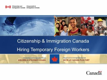 Citizenship & Immigration Canada Hiring Temporary Foreign Workers