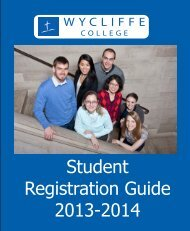 Student Registration Guide 2013-2014 - Wycliffe College