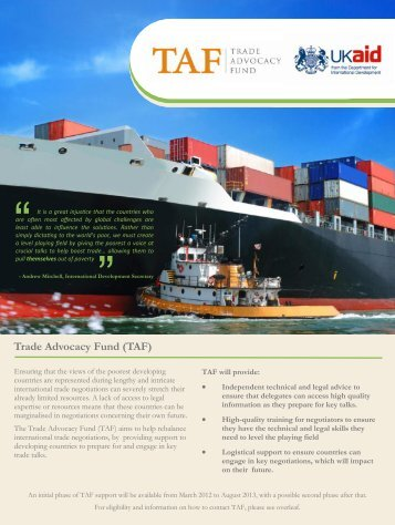 Trade Advocacy Fund (TAF) - unctad xiii