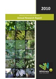 Annual Research Report 2010 - Whitireia Community Polytechnic