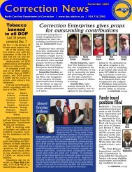 Correction News - North Carolina Department of Corrections