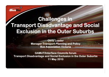 Challenges in Transport Disadvantage and Social Exclusion in the ...