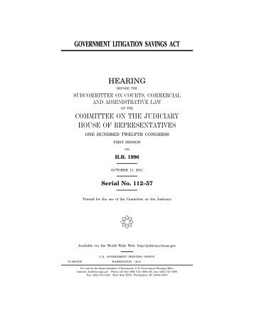 Government Litigation Savings Act - House Judiciary Committee