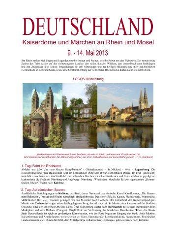 Reiseinformation Deutschland 6 Tage - Logos Reisen