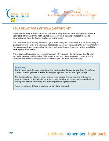your relay for life team captain's kit - Canadian Cancer Society