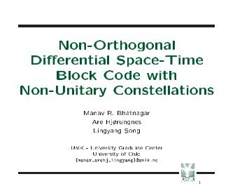 space time block coding thesis Dissertation submitted in partial fulfilment of the requirements  in this thesis, we  present a new high rate space time block code for two transmit antenna.