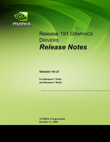 Release Notes for Windows 7 - Nvidia's Download site!!