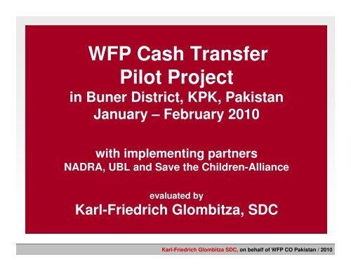 WFP Cash Transfer Pilot Project - Food Security Clusters