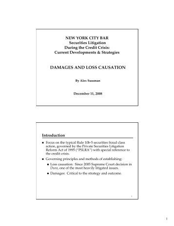 DAMAGES AND LOSS CAUSATION - Fried Frank