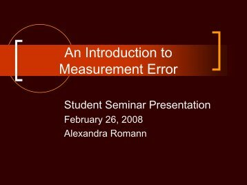 Introduction to Measurement Error