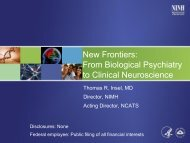 New Frontiers: From Biological Psychiatry to Clinical ... - NIMH