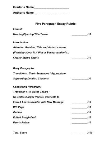 five paragraph persuasive essay rubric This persuasive essay rubric can be copied and pasted into your own handout or essay has an introduction with thesis statement, at least two body paragraphs.