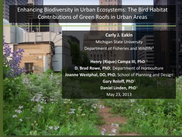The Bird Habitat Contributions of Green Roofs in Urban Areas